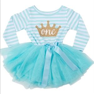 Turquoise Blue and White Striped Infant Dress